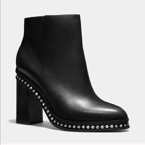 NEW Coach Justina Black Leather Booties